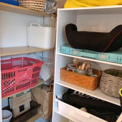 カラボ/カラーボックス/カラーボックス収納/玄関収納/シューズクローク/ニトリ/... カラボのおかげで、棚にスペースが**♪ …