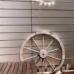 木製車輪/ナチュラルインテリア/ウッドデッキ/雑貨/暮らし 3畳程のウッドデッキ(❁´ω`❁) 大き…