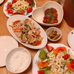 野菜炒め/夜ご飯/夜ごはん/おうちごはん/暮らし 昨日の晩ご飯~(❁´ω`❁) サーモンと…
