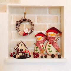 100均/クリスマス/クリスマスリース/リース/雪だるま/ニッチ/... 玄関ニッチです* カントリーなクリスマス…