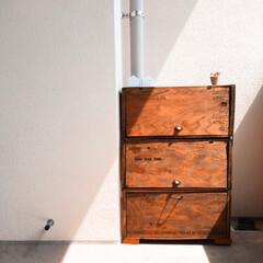 靴収納/リメイク/りんご箱/収納/DIY/わたしの手作り りんご箱をリメイクして、靴や外遊びの道具…