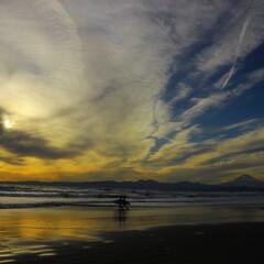 海辺/夕日/富士山/景色/サーフィン/はじめてフォト投稿 大好きな湘南