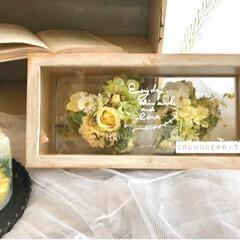 オーダーありがとうございました/flowers/ドライフラワー/アーティフィシャルフラワー/花のある暮らし/花雑貨/... 大小2つのハート❤︎アレンジをボックスの…