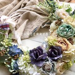 walldeco/壁飾り/flowers/wreath/手作り/リース作り/...   オーダー品です。  大変お待たせしち…