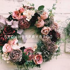 花雑貨/フラワーデザイン/リース作り/リース/花のある暮らし/花/...   やっぱり、リース作りは楽しい♪ リボ…