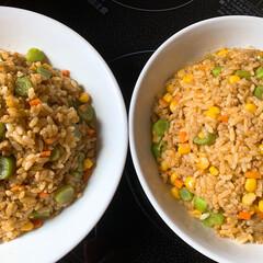 今日もあちいね💦/野菜は残さず消費/もやしとしめじの中華スープ/カレーチャーハン #カレーチャーハン  #これにもやしとし…