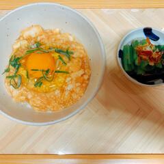おうちカフェ #明太叩きとろろ丼 #小松菜のおひたし …