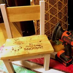 DIY/端材消費/ミニ椅子/スヌーピー/ステンシル 端材消費にちっちゃいイスを作ってみました…
