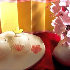 ひな祭りは旧暦でやります/写真ヘタでごめんなさい/リミ友の輪/クレイの桜/クレイフラワー/ウサギの一輪挿し/... クレイフラワーの桜が届きました✨ クレイ…(3枚目)