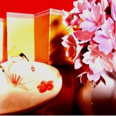ひな祭りは旧暦でやります/写真ヘタでごめんなさい/リミ友の輪/クレイの桜/クレイフラワー/ウサギの一輪挿し/... クレイフラワーの桜が届きました✨ クレイ…(1枚目)