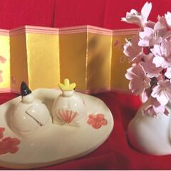 ひな祭りは旧暦でやります/写真ヘタでごめんなさい/リミ友の輪/クレイの桜/クレイフラワー/ウサギの一輪挿し/... クレイフラワーの桜が届きました✨ クレイ…(5枚目)