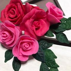 令和の一枚/ハンドメイド/100均/ダイソー/樹脂粘土/薔薇 前に作ってた100均樹脂粘土の薔薇🌹 同…