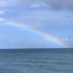 レインボー/海/おでかけ 虹のはじまり…か、終わり。
