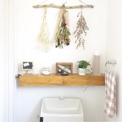 ドライフラワー/インテリア/トイレ/DIY/100均/ハンドメイド トイレは落ち着いた空間になるように心掛け…