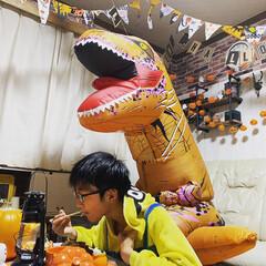 コスプレ/恐竜/ハロウィン2019/キャンドゥ/ダイソー/セリア/... 夜のハロウィン飯を恐竜になって出しました…