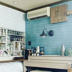 フォロー大歓迎/LIMIAインテリア部/キッチン雑貨/雑貨/DIY/100均/... お部屋の壁紙をオーシャンブルーにしました…