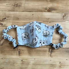 ダブルガーゼ/猫/マスク/立体/DIY/ハンドメイド 猫柄のダブルガーゼでマスク作り  大人用…