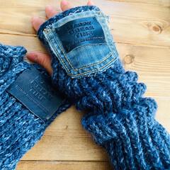 毛糸/アームウォーマー/キャンドゥ/ダイソー/セリア/100均/... 100円ショップの編み物メーカーで作った…(1枚目)