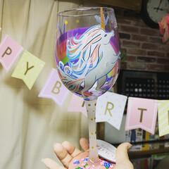 ユニコーン/ロリータ/ワイングラス/キャンドゥ/ダイソー/セリア/... 大好きなワイングラス  自分にご褒美  …