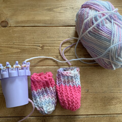 椅子脚カバー/小学校/毛糸でリリアン/毛糸/100均/ダイソー/... ダイソーの毛糸でリリアンで作る椅子脚カバ…