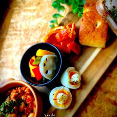 大豆/鯖缶/ワンプレート/カフェごはん/カフェ飯/器のある暮らし/... 鯖ビーンズのモーニングプレート。 ・ピク…(1枚目)