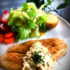 カフェご飯/タルタルソース/フランス料理/ムニエル/パンガシウス/魚料理/... パンガシウス🐟のムニエル 自家製タルタル…