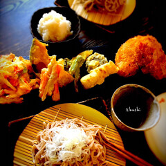 生蕎麦/天ぷら/器好き/器のある暮らし/日本の夏/LIMIAファンクラブ/... おうちでのんびり、 生蕎麦でざる蕎麦♬ …