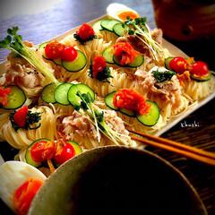 益子焼/日本の夏/夏野菜/素麺/器好き/器のある暮らし/... 夏の終わりを感じつつ… 素麺アラカルト♬…