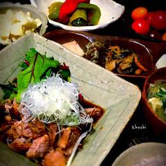 新鮮野菜/煮豚/益子焼/器好き/器のある暮らし/和食/... 煮豚をメインに… ・旬の蓮根の辛子マヨネ…