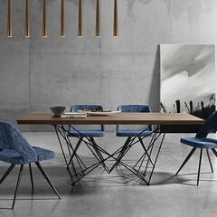 ダイニングテーブル/ウォールナット ダイナミックかつエレガントなデザインによ…