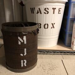ゴミ箱 イケヤで買った 白のゴミ箱にペイント✨ …