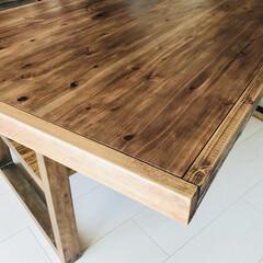 テーブル/格安/ヴィンテージ/ブルックリン/カフェスタイル/ウォールナット/... 杉無垢材1500x700のアイアン脚ダイ…