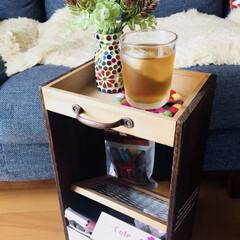ソファー横テーブル/DIY/雑貨/100均 以前投稿されていたものを真似っこして作っ…