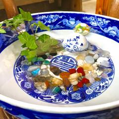 衣替え/雑貨/インテリア/住まい 籐のテーブルも夏仕様🌴 トンボ玉と浮き玉…