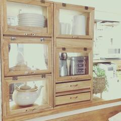 ワトコオイル/収納家具/カウンター/キッチン/DIY/雑貨/... やっと完成✨ まとまった時間と材料揃わず…