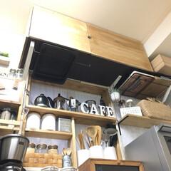 収納/棚/ワトコオイル/ファルカタ材/リメイク/DIY/... キッチンの壁に取り付けた棚に ワトコオイ…