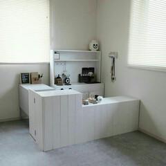 子供部屋/カラーボックス/カラボリメイク/DIY/インテリア/クッションフロア/... 子供部屋です。カラーボックスを使い、おま…
