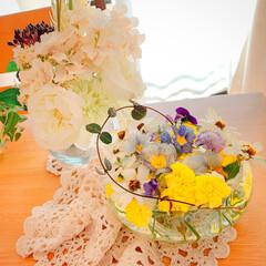 ベランダのお花/ベランダガーデン/お花大好き❤/おうち/雑貨/100均/... 花殻を器で❤️