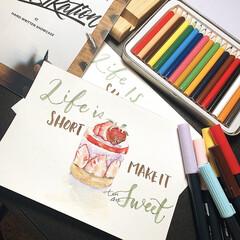 お絵かき/お絵描き/トンボ鉛筆ABT/色えんぴつ/色鉛筆/ポストカード/... ポストカード描いてあそんでみました。 苺…