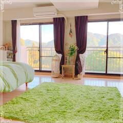 寝室/寝室インテリア/寝室の窓/寝室雑貨/令和の一枚/フォロー大歓迎/... 朝の寝室✨ 窓を開けると空気が美味しい✨…