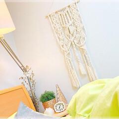 寝室インテリア/寝室雑貨/寝室/編み編み/マクラメタペストリー/マクラメ編み/... マクラメタペストリー第2弾 完成❤️