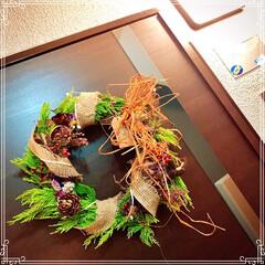 インテリア雑貨/手作りリース/フレッシュリース/クリスマスリース/minneやってます/インテリア/... マンションの植栽のメンテナンスで、コニフ…