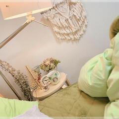 ベッドサイド/寝室インテリア/インテリア/スツール/寝室/雑貨/... お気に入りのマグカップでアールグレイを❤️