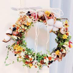 ガーデニング/お花大好き❤/ベランダガーデン/手作りリース/フォロー大歓迎/ハンドメイド/... 自宅で咲いたお花のドライでリースを作りま…