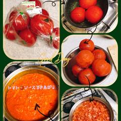 トマトソース/トマト/おうちごはん おつとめ品の完熟トマトを発見👀🍅 湯むき…