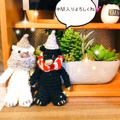 珈琲タイム/星乃珈琲店/スフレパンケーキ/くまちゃん/編みぐるみ/ハンドメイド/... ①職場の仲間が作った、くまちゃん2人組💕…