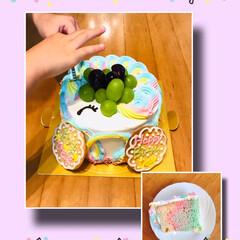 ユニコーン/シフォンケーキ/お誕生日会/誕生日ケーキ 5才☆6才☆になる孫ちゃんの誕生日会をし…