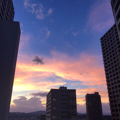 台風の後/今日の夕日 今日の明け方から、台風15号の影響でもの…