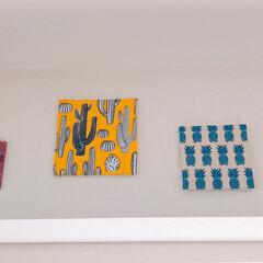 ミカヅキモモコ/夏/100均/セリア/インテリア/ハンドメイド 以前投稿した壁の飾りを夏向きに変えました…