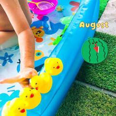 水遊び/ベランダ/おうちプール/夏休み 孫くんがひとりでお泊り😊 暑いのでベラン…